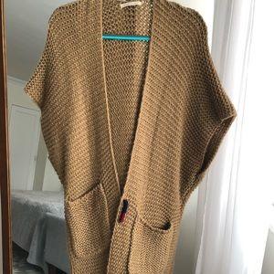 Camel floor-duster sweater